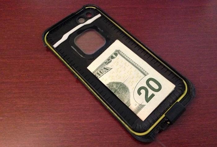 money inside a phone case