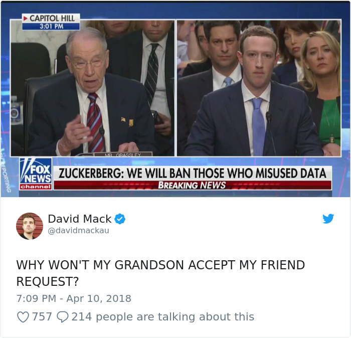 Memes of Mark Zuckerberg testifying before congress
