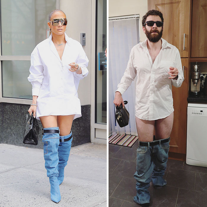 guy trolls J-Lo wearing thigh high denim boots
