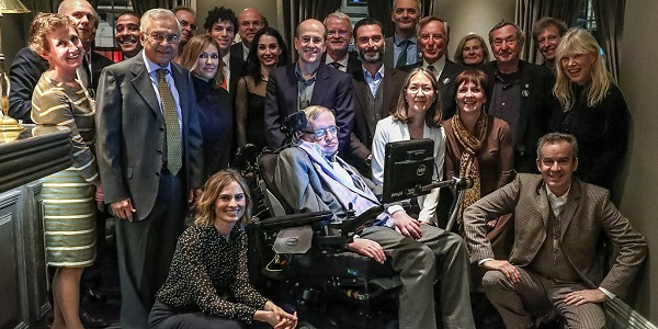 Stephen Hawking sitting with people