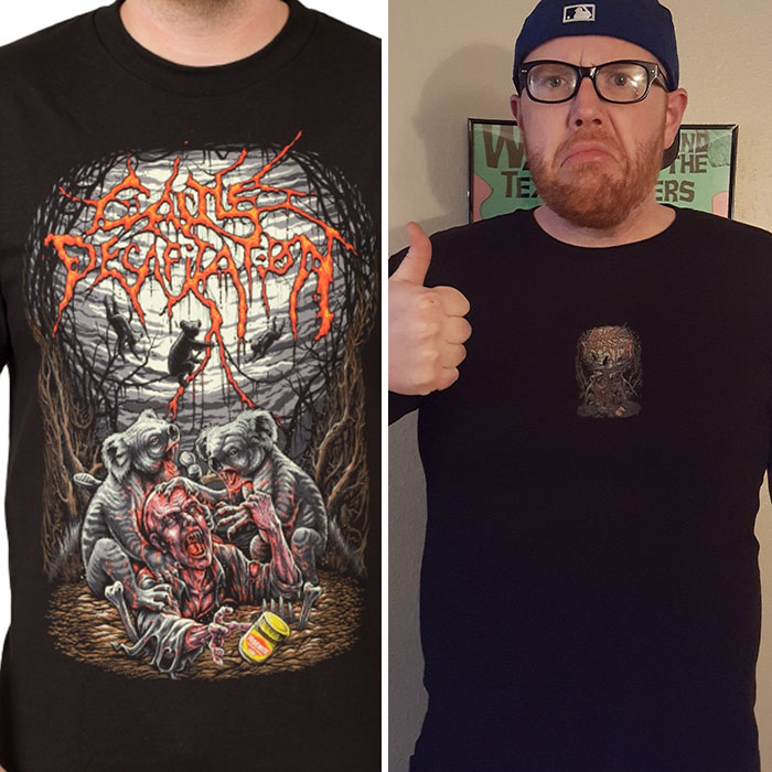 a man with a tiny illustration on his shirt