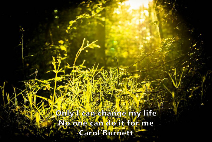 19.	Only I can change my life. No one can do it for me. Carol Burnett