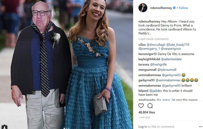 Teen takes Danny DeVito's cutout to prom