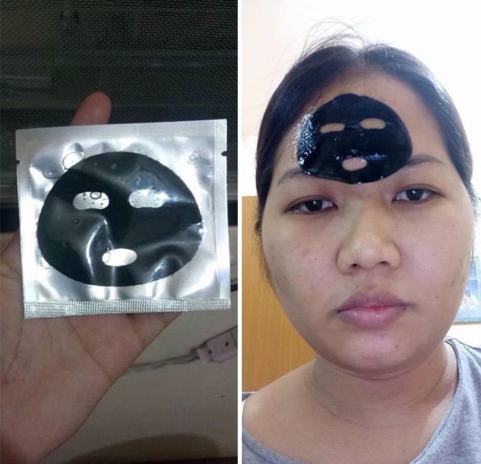 a woman with a tuny face mask on her forhead