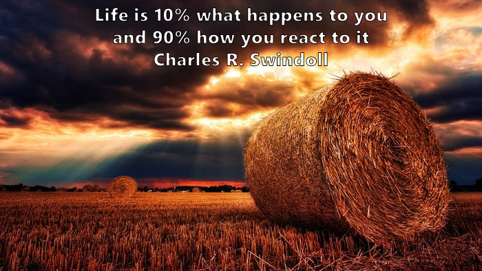 18.	Life is 10% what happens to you and 90% how you react to it. Charles R. Swindoll