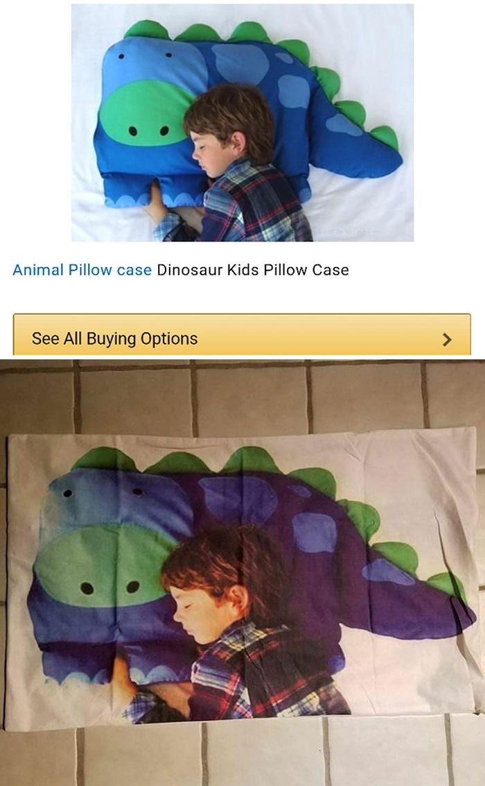 a pillow of a boy sleeping on a dinosaur pillow