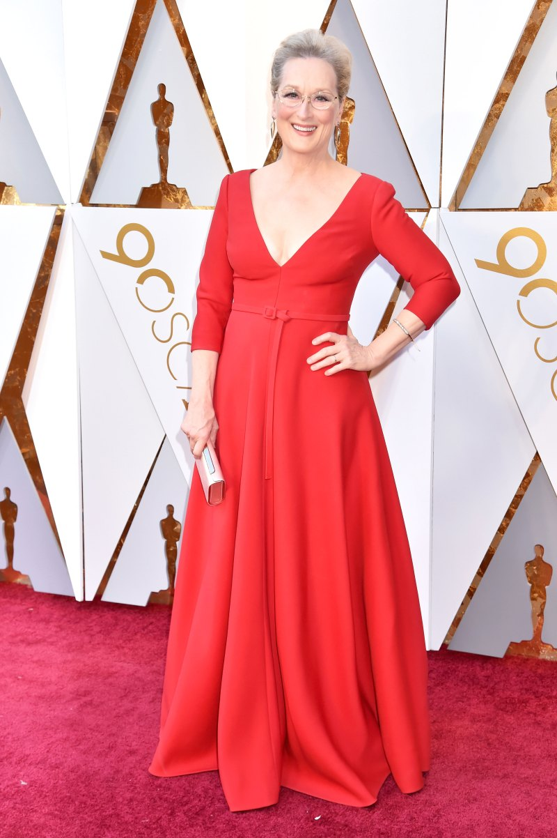 Meryl Streep In a red Dior gown