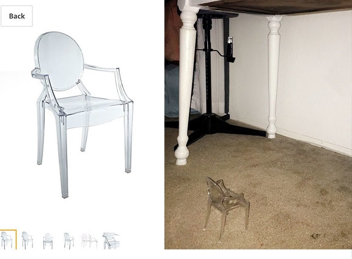 a tiny plastic chair