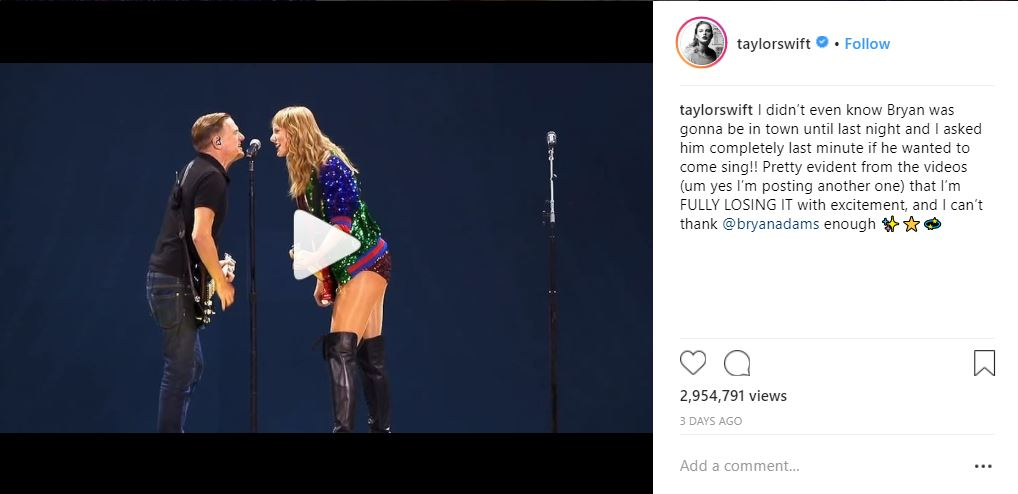 Taylor Swift's Instagram post on her concert with Bryan Adams