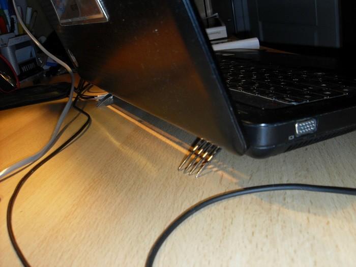 Forks under a laptop