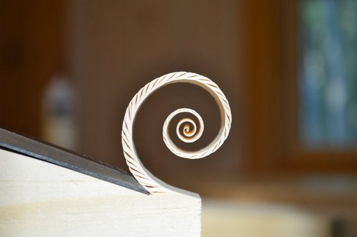 a spiral wood carving
