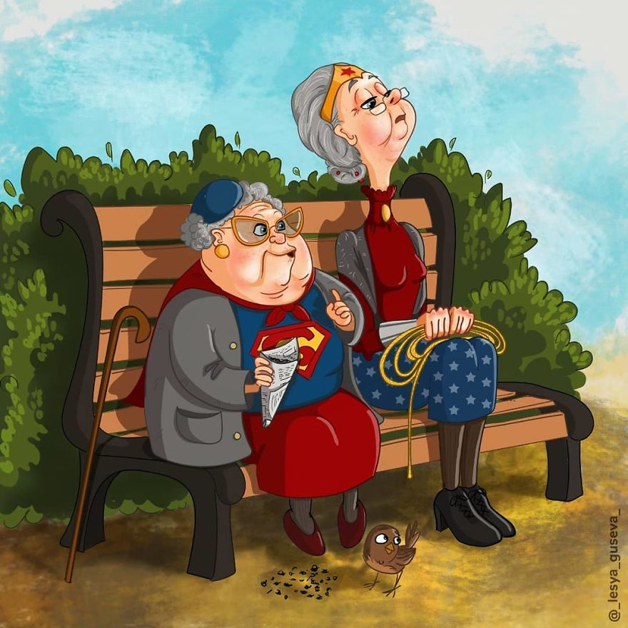 famous fictional characters as old people