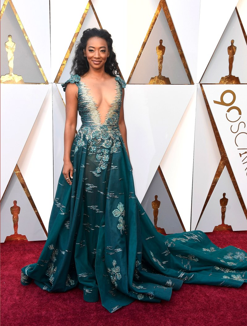 Betty Gabriel In a plunging Tony Ward Couture gown with sequined embellishment and Forevermark Diamonds jewelry.