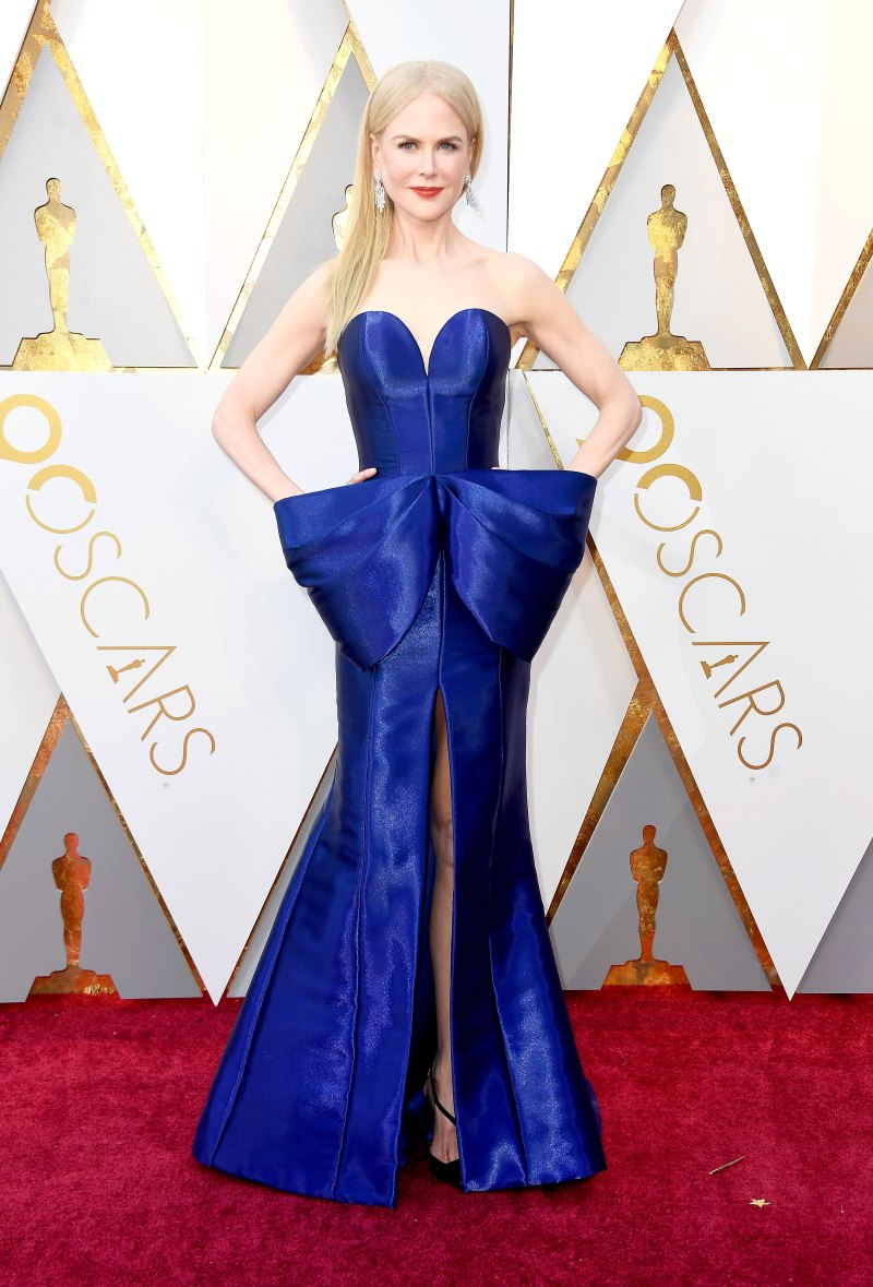 Nicole Kidman Wearing a cobalt Armani Prive gown with an oversized bow and a mermaid