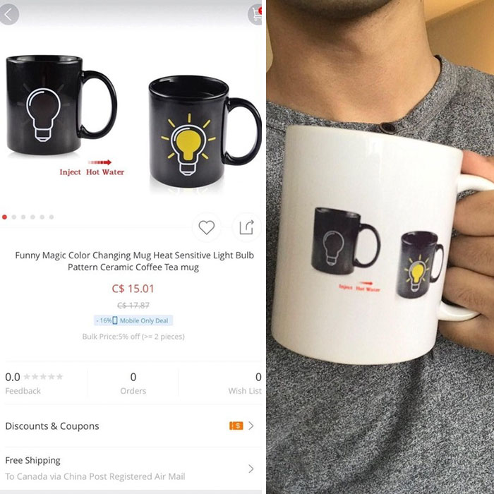 a cup with a picture with two cups on it