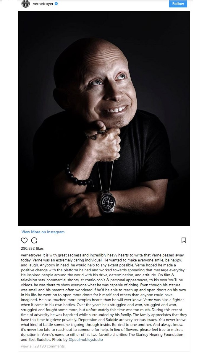 Instagram post on Verne Troyer's death