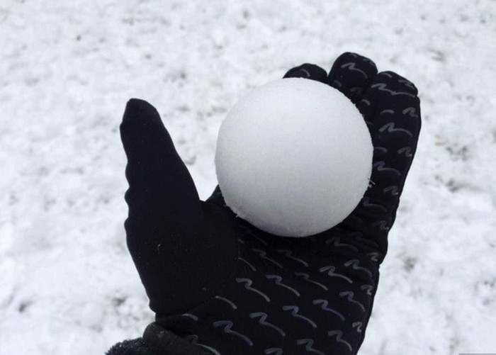 a perfectly round snow ball