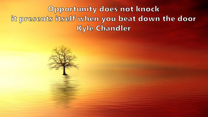 21.	Opportunity does not knock, it presents itself when you beat down the door. Kyle Chandler