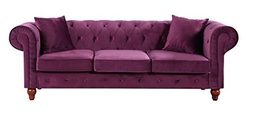 Divano Roma Furniture Velvet Scroll Arm Tufted Button Chesterfield Style Sofa